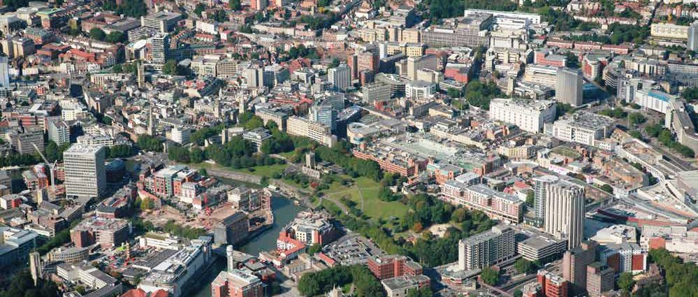 Aerial photograph of the city
