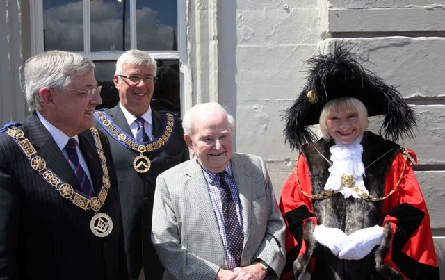 Left to right: Provincial Grand Master Alan Vaughan, Deputy Provincial Grand Master Joe Davis, the Beaufort Lodge's oldest Mason and Rt Honourable Lord Mayor Councillor Lesley Alexander.