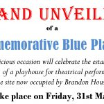 Theatre blue plaque unveiling: 31st May 2019